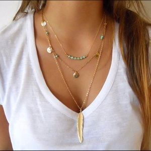 3 layer gold feather necklace